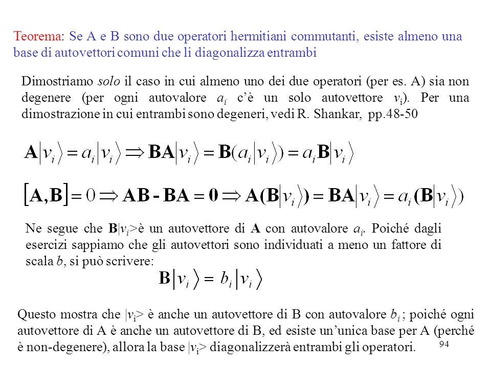 94 Teorema: Se A e B sono due operatori hermitiani commutanti, esiste almeno una base di autovettori comuni che li diagonalizza entrambi Dimostriamo s