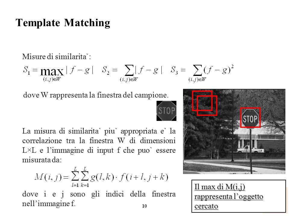 10 Cosimo.Distante@imm.cnr.it Template Matching dove W rappresenta la finestra del campione. Misure di similarita`: La misura di similarita` piu` appr