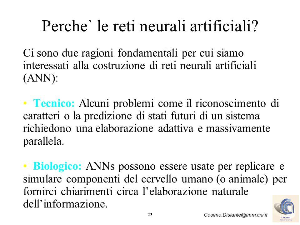 23 Cosimo.Distante@imm.cnr.it Perche` le reti neurali artificiali? Ci sono due ragioni fondamentali per cui siamo interessati alla costruzione di reti