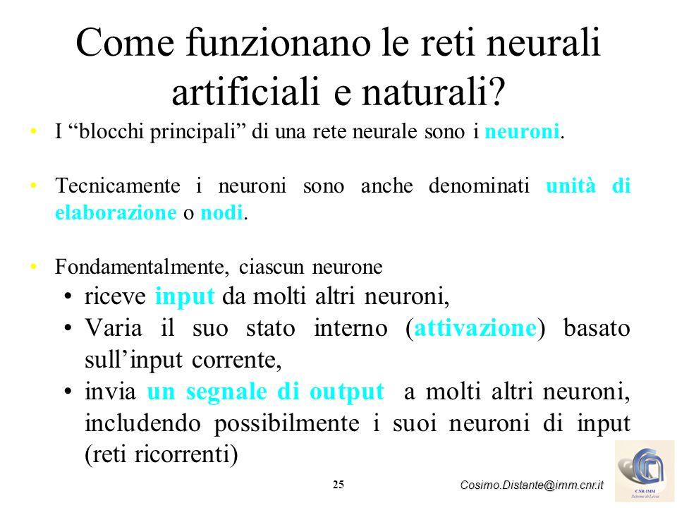 25 Cosimo.Distante@imm.cnr.it Come funzionano le reti neurali artificiali e naturali? I blocchi principali di una rete neurale sono i neuroni. Tecnica