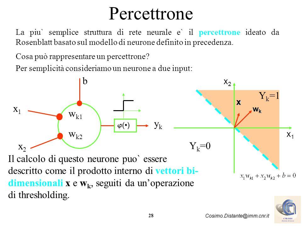 28 Cosimo.Distante@imm.cnr.it Percettrone La piu` semplice struttura di rete neurale e` il percettrone ideato da Rosenblatt basato sul modello di neur