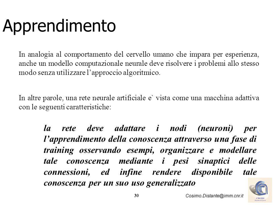 30 Cosimo.Distante@imm.cnr.it In analogia al comportamento del cervello umano che impara per esperienza, anche un modello computazionale neurale deve