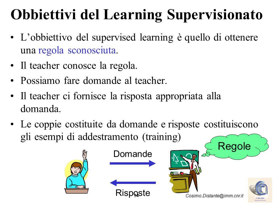 34 Cosimo.Distante@imm.cnr.it Obbiettivi del Learning Supervisionato Lobbiettivo del supervised learning è quello di ottenere una regola sconosciuta.