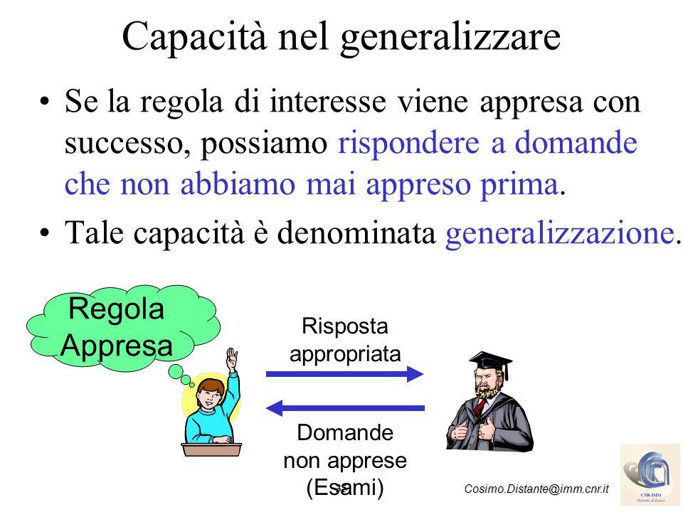 35 Cosimo.Distante@imm.cnr.it Capacità nel generalizzare Se la regola di interesse viene appresa con successo, possiamo rispondere a domande che non a
