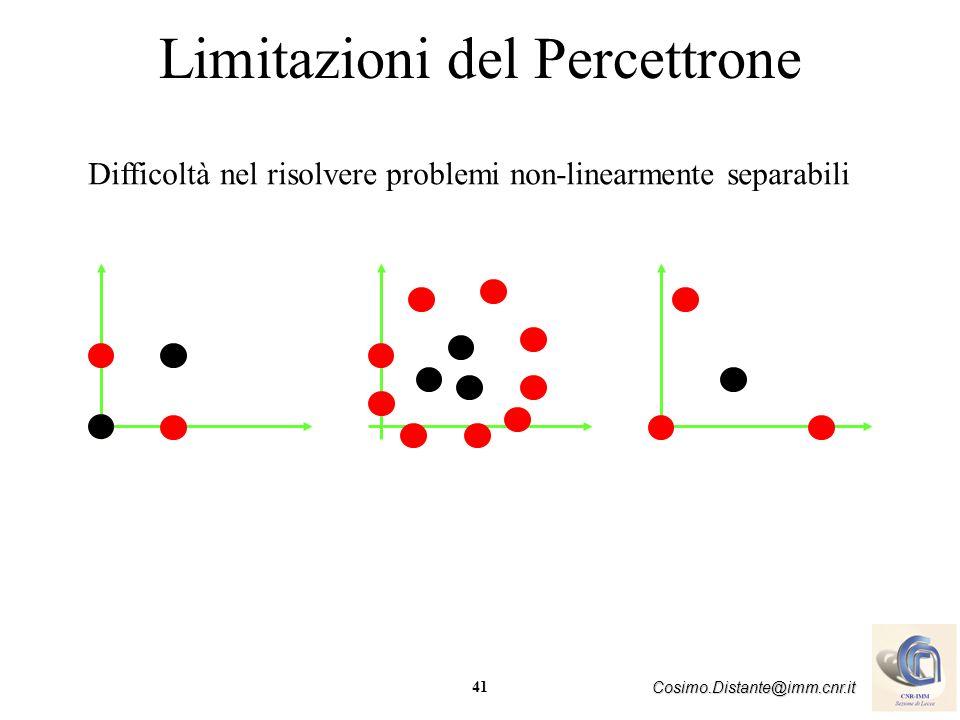 41 Cosimo.Distante@imm.cnr.it Limitazioni del Percettrone Difficoltà nel risolvere problemi non-linearmente separabili