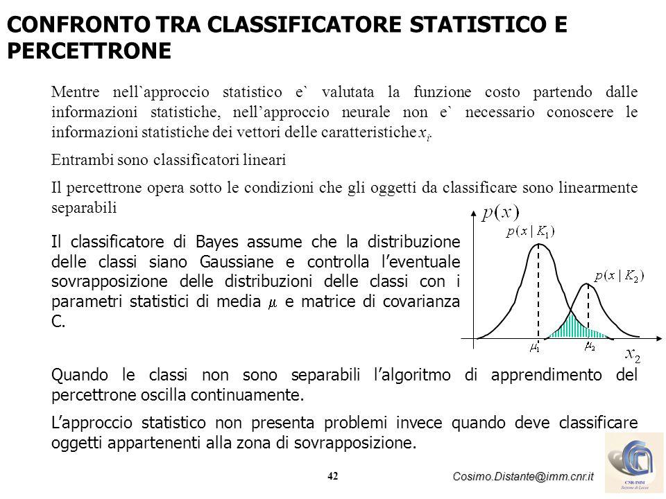 42 Cosimo.Distante@imm.cnr.it Mentre nell`approccio statistico e` valutata la funzione costo partendo dalle informazioni statistiche, nellapproccio ne