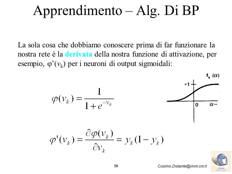 58 Cosimo.Distante@imm.cnr.it Apprendimento – Alg. Di BP La sola cosa che dobbiamo conoscere prima di far funzionare la nostra rete è la derivata dell