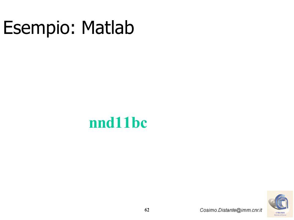 62 Cosimo.Distante@imm.cnr.it nnd11bc Esempio: Matlab