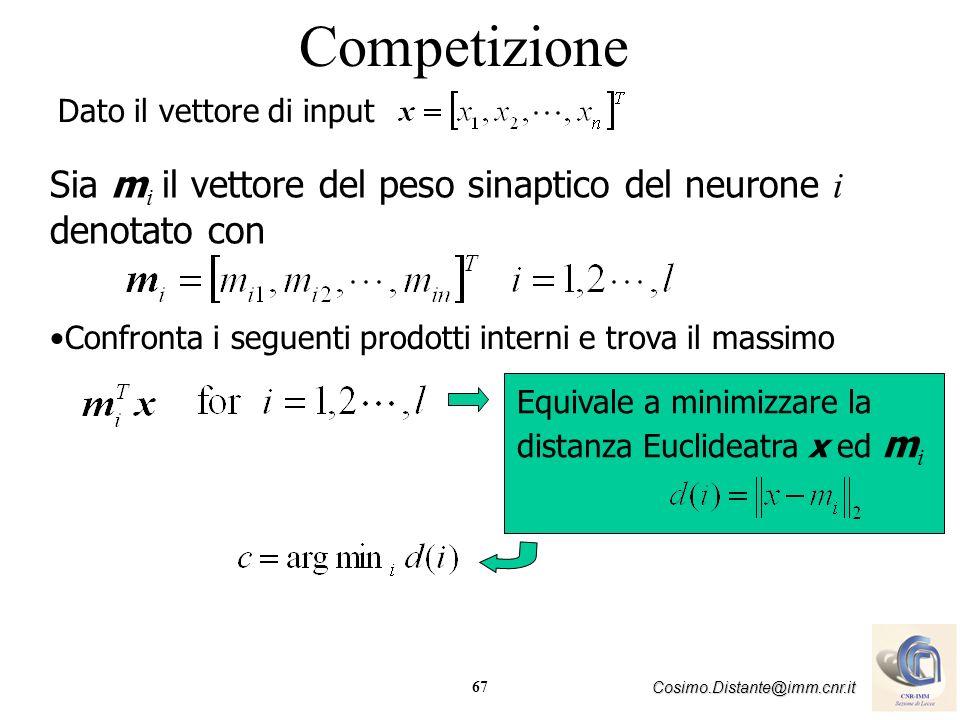 67 Cosimo.Distante@imm.cnr.it Competizione Dato il vettore di input Confronta i seguenti prodotti interni e trova il massimo Sia m i il vettore del pe