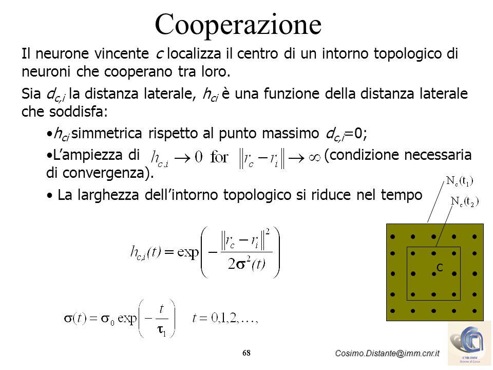 68 Cosimo.Distante@imm.cnr.it Cooperazione Il neurone vincente c localizza il centro di un intorno topologico di neuroni che cooperano tra loro. Sia d