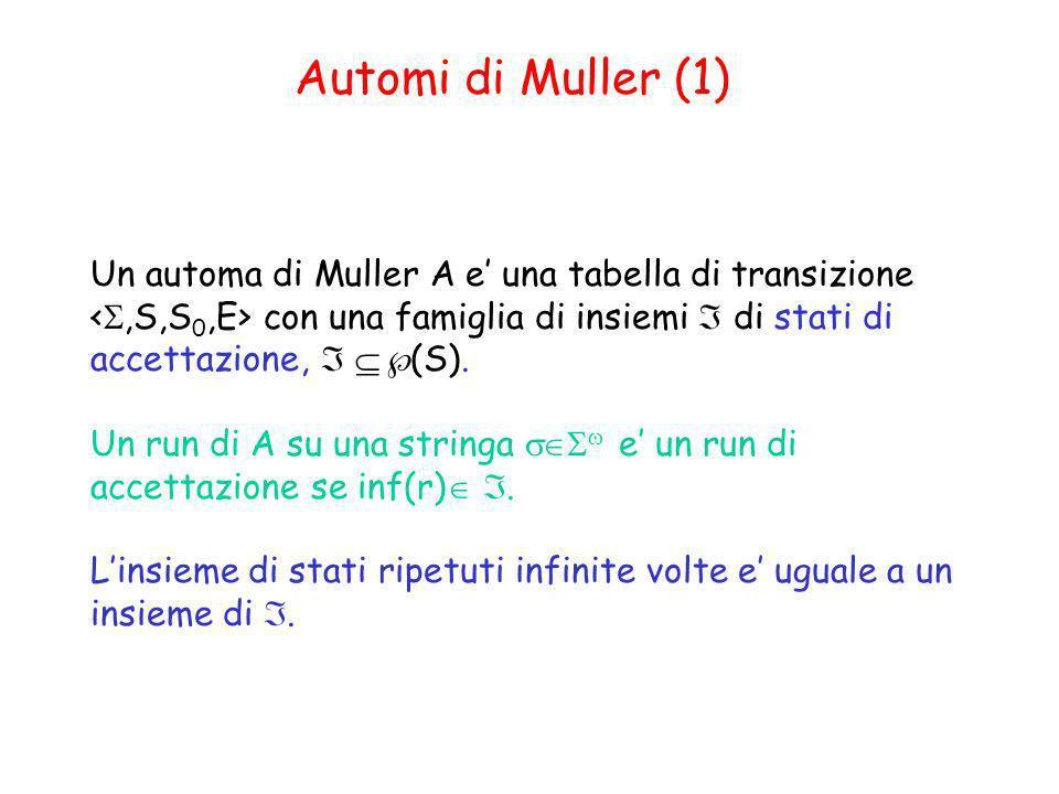 Automi di Muller (1) Un automa di Muller A e una tabella di transizione con una famiglia di insiemi di stati di accettazione, (S). Un run di A su una