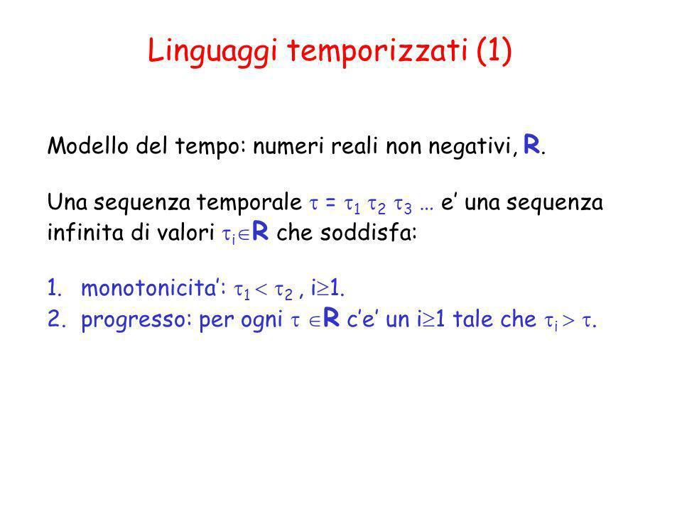 Linguaggi temporizzati (1) Modello del tempo: numeri reali non negativi, R. Una sequenza temporale = 1 2 3 … e una sequenza infinita di valori i R che