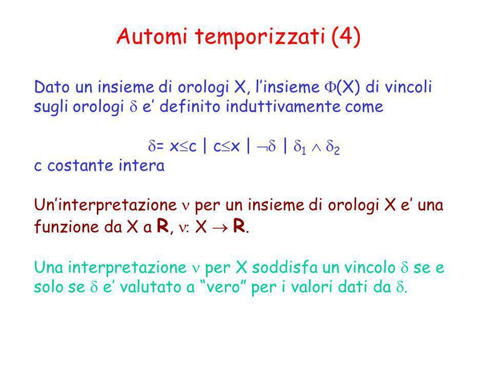 Automi temporizzati (4) Dato un insieme di orologi X, linsieme (X) di vincoli sugli orologi e definito induttivamente come = x c | c x | | 1 2 c costa