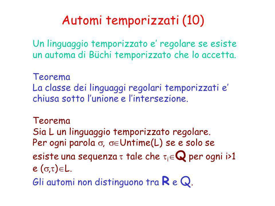 Automi temporizzati (10) Un linguaggio temporizzato e regolare se esiste un automa di Büchi temporizzato che lo accetta. Teorema La classe dei linguag