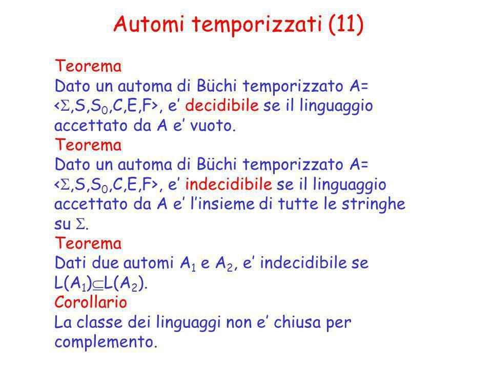 Automi temporizzati (11) Teorema Dato un automa di Büchi temporizzato A=, e decidibile se il linguaggio accettato da A e vuoto. Teorema Dato un automa