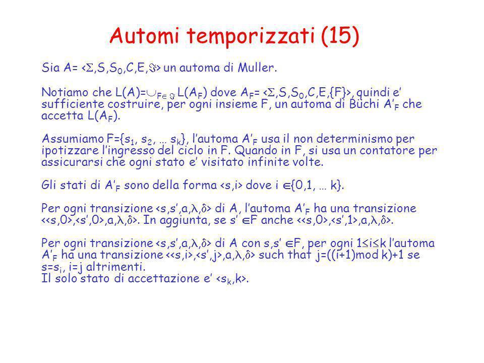 Automi temporizzati (15) Sia A= un automa di Muller. Notiamo che L(A)= F L(A F ) dove A F =, quindi e sufficiente costruire, per ogni insieme F, un au
