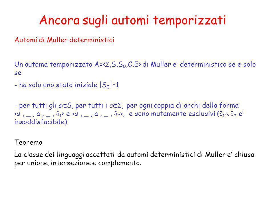 Automi di Muller deterministici Un automa temporizzato A= di Muller e deterministico se e solo se - ha solo uno stato iniziale |S 0 |=1 - per tutti gl