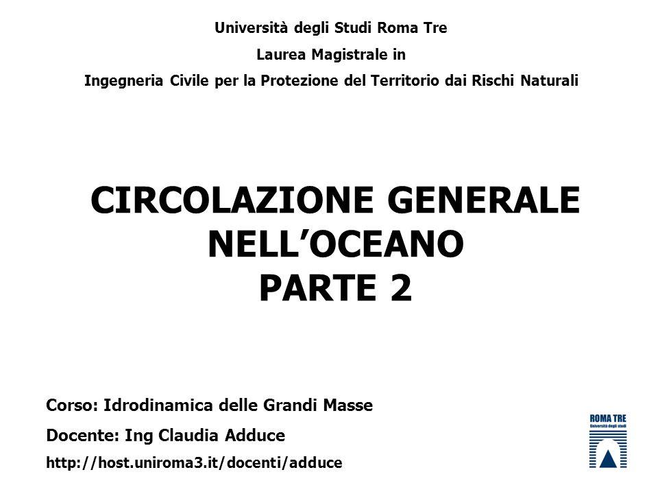 CIRCOLAZIONE GENERALE NELLOCEANO PARTE 2 Università degli Studi Roma Tre Laurea Magistrale in Ingegneria Civile per la Protezione del Territorio dai R
