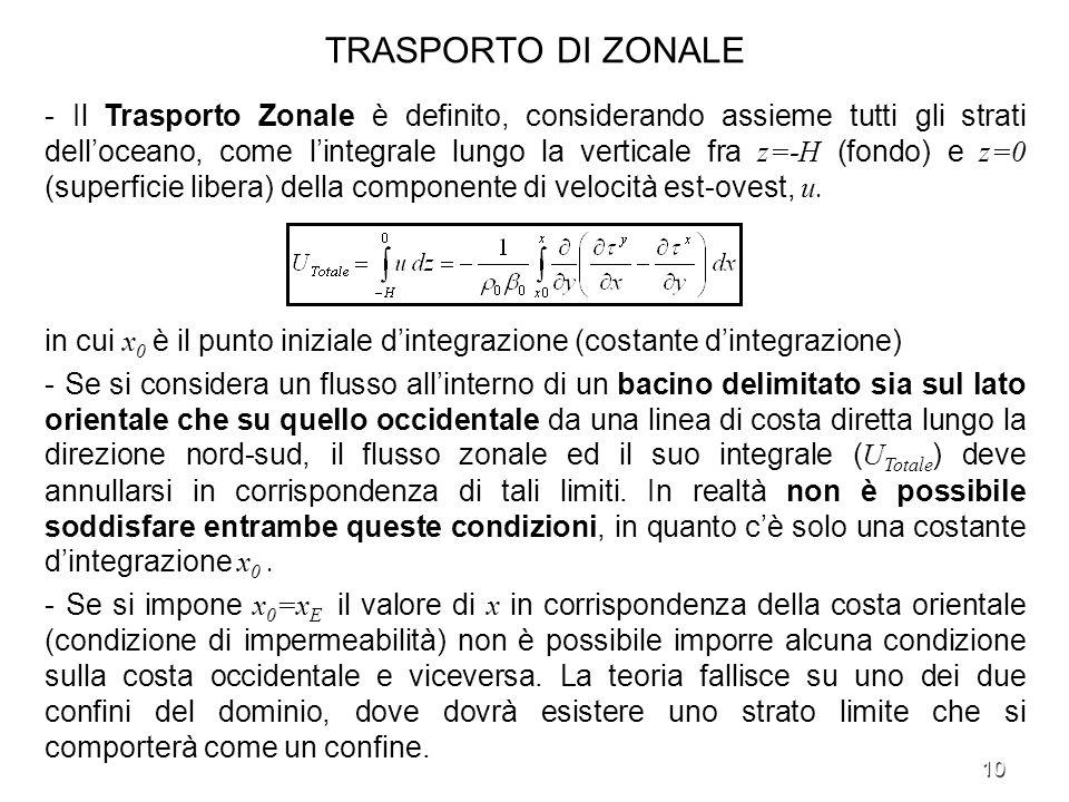 10 TRASPORTO DI ZONALE - Il Trasporto Zonale è definito, considerando assieme tutti gli strati delloceano, come lintegrale lungo la verticale fra z=-H