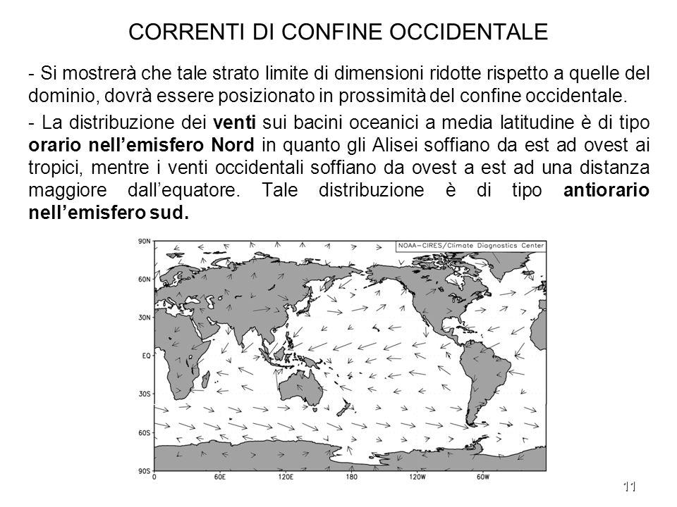 11 CORRENTI DI CONFINE OCCIDENTALE - Si mostrerà che tale strato limite di dimensioni ridotte rispetto a quelle del dominio, dovrà essere posizionato