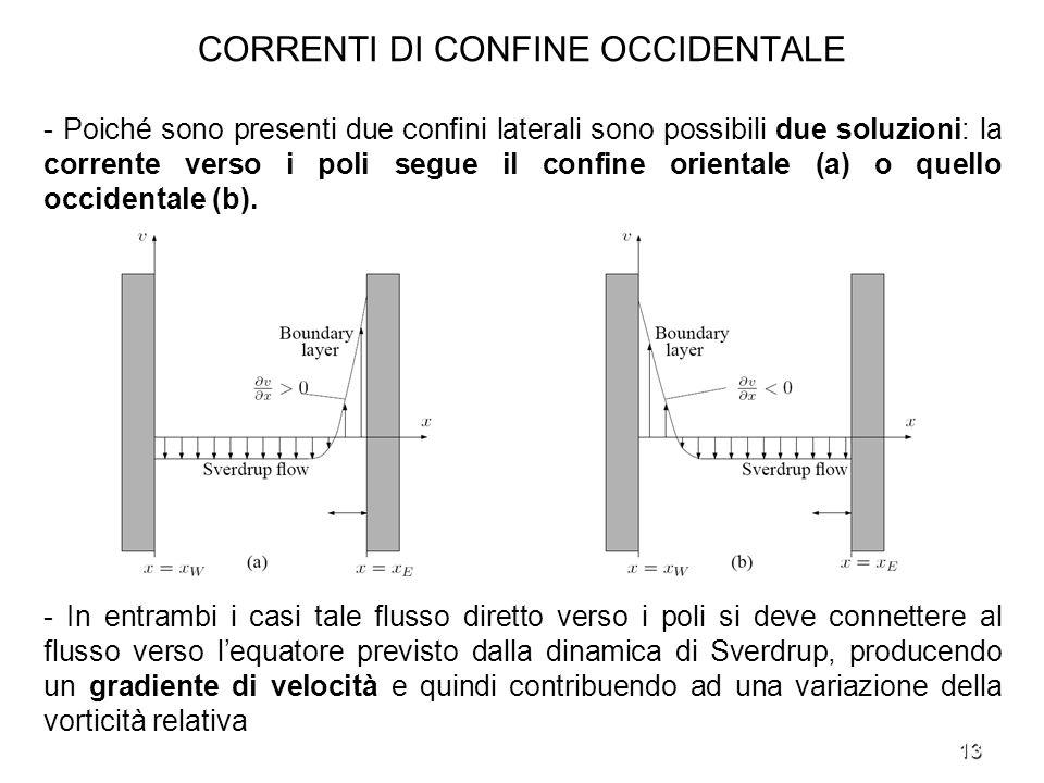 13 CORRENTI DI CONFINE OCCIDENTALE - Poiché sono presenti due confini laterali sono possibili due soluzioni: la corrente verso i poli segue il confine