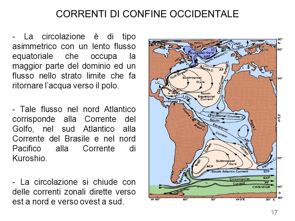 17 CORRENTI DI CONFINE OCCIDENTALE - La circolazione è di tipo asimmetrico con un lento flusso equatoriale che occupa la maggior parte del dominio ed