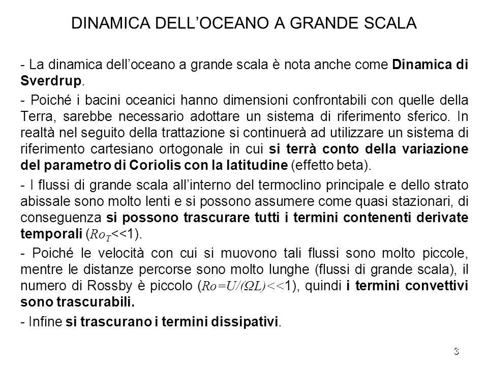 4 DINAMICA DELLOCEANO A GRANDE SCALA - Il sistema di equazioni per studiare la dinamica dei flussi oceanici a grande scala è - u, v e w sono le componenti di velocità dirette verso est, nord e lungo la verticale, 0 è la densità di riferimento, è lanomalia di densità, p è la pressione idrostatica indotta dallanomalia di densità, g è laccelerazione di gravità, f=f 0 +β 0 y con f 0 =2Ωsinφ e β 0 =2(Ω/a)cosφ.