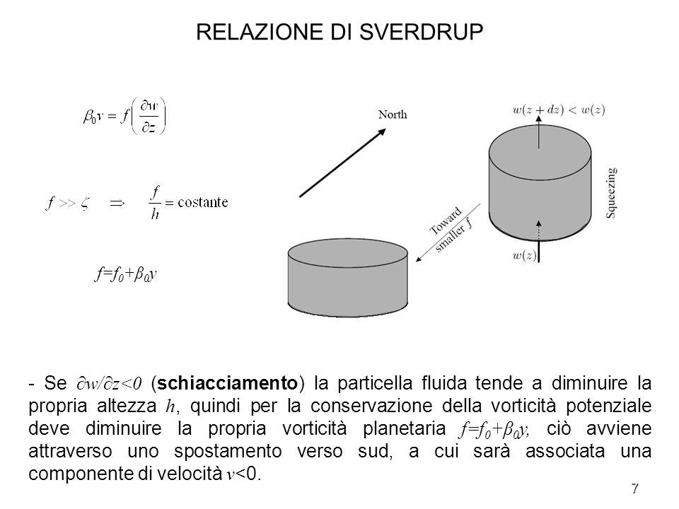 8 RELAZIONE DI SVERDRUP - Integrando verticalmente la relazione di Sverdrup fra z=-H (fondo) e z=-d (base dello strato di Ekman di superficie) si ottiene - Il termoclino stagionale è stato incluso nellintegrazione in quanto sebbene sia caratterizzato da variazioni stagionali, il loro periodo è grande se confrontato con il periodo inerziale, quindi anche il suo flusso può essere assunto quasi geostrofico.