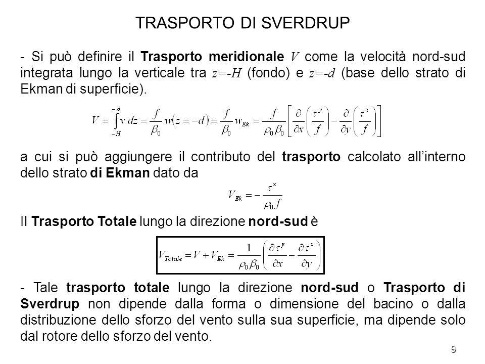 10 TRASPORTO DI ZONALE - Il Trasporto Zonale è definito, considerando assieme tutti gli strati delloceano, come lintegrale lungo la verticale fra z=-H (fondo) e z=0 (superficie libera) della componente di velocità est-ovest, u.