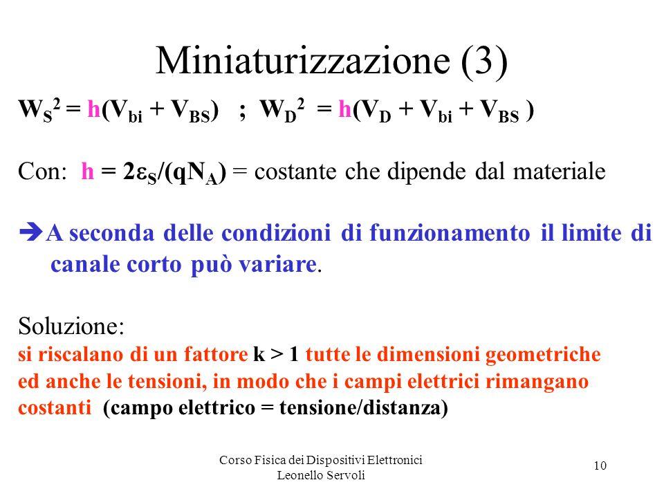 Corso Fisica dei Dispositivi Elettronici Leonello Servoli 10 Miniaturizzazione (3) W S 2 = h(V bi + V BS ) ; W D 2 = h(V D + V bi + V BS ) Con: h = 2