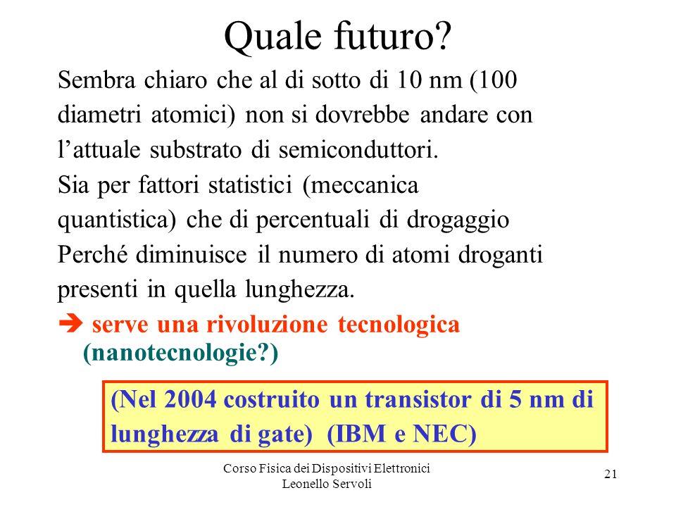 Corso Fisica dei Dispositivi Elettronici Leonello Servoli 21 Quale futuro? Sembra chiaro che al di sotto di 10 nm (100 diametri atomici) non si dovreb