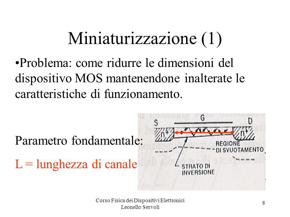 Corso Fisica dei Dispositivi Elettronici Leonello Servoli 8 Miniaturizzazione (1) Problema: come ridurre le dimensioni del dispositivo MOS mantenendon