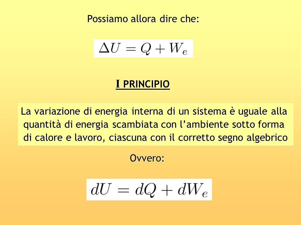 I PRINCIPIO Possiamo allora dire che: La variazione di energia interna di un sistema è uguale alla quantità di energia scambiata con lambiente sotto f