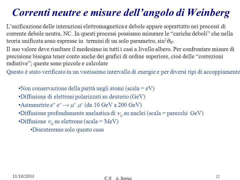 11/10/2013 C.8 A. Bettini 12 Correnti neutre e misure dellangolo di Weinberg Lunificazione delle interazioni elettromagnetica e debole appare soprattu