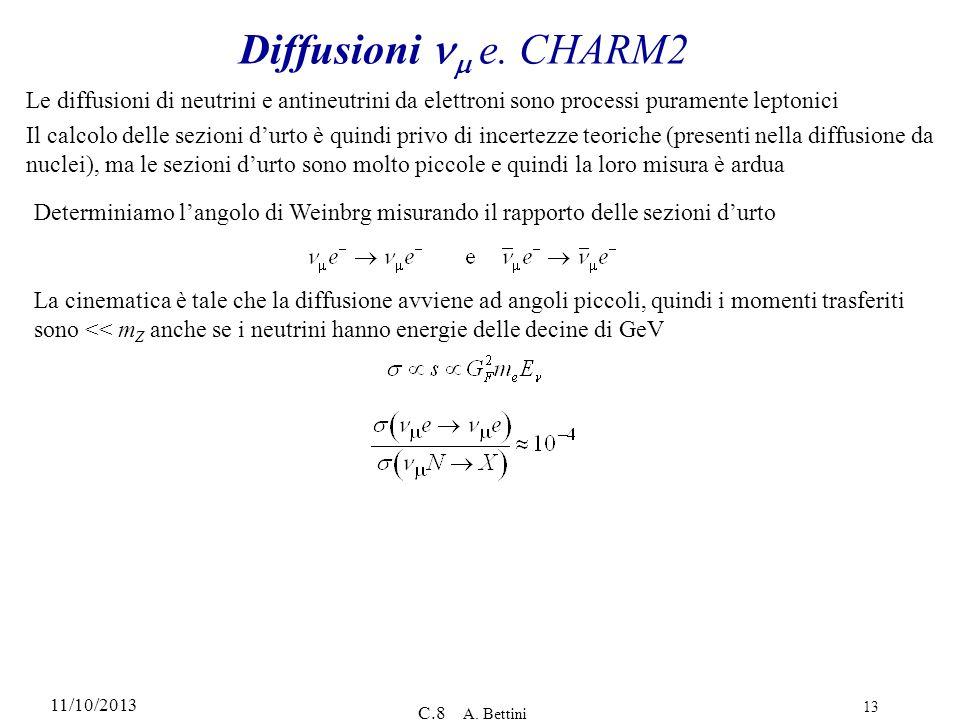 11/10/2013 C.8 A. Bettini 13 Diffusioni e. CHARM2 Le diffusioni di neutrini e antineutrini da elettroni sono processi puramente leptonici Il calcolo d