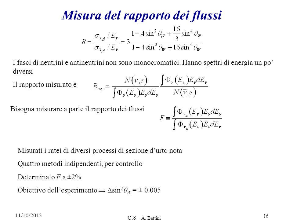 11/10/2013 C.8 A. Bettini 16 Misura del rapporto dei flussi I fasci di neutrini e antineutrini non sono monocromatici. Hanno spettri di energia un po