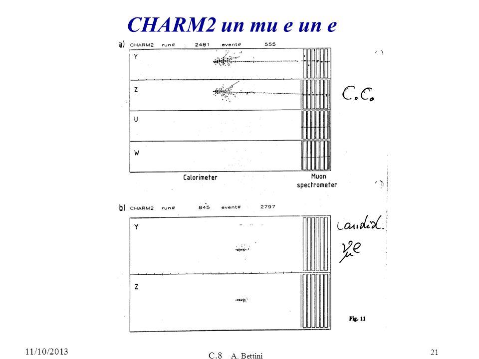11/10/2013 C.8 A. Bettini 21 CHARM2 un mu e un e