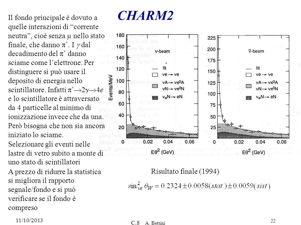 11/10/2013 C.8 A. Bettini 22 CHARM2 Il fondo principale è dovuto a quelle interazioni di corrente neutra, cioè senza µ nello stato finale, che danno π