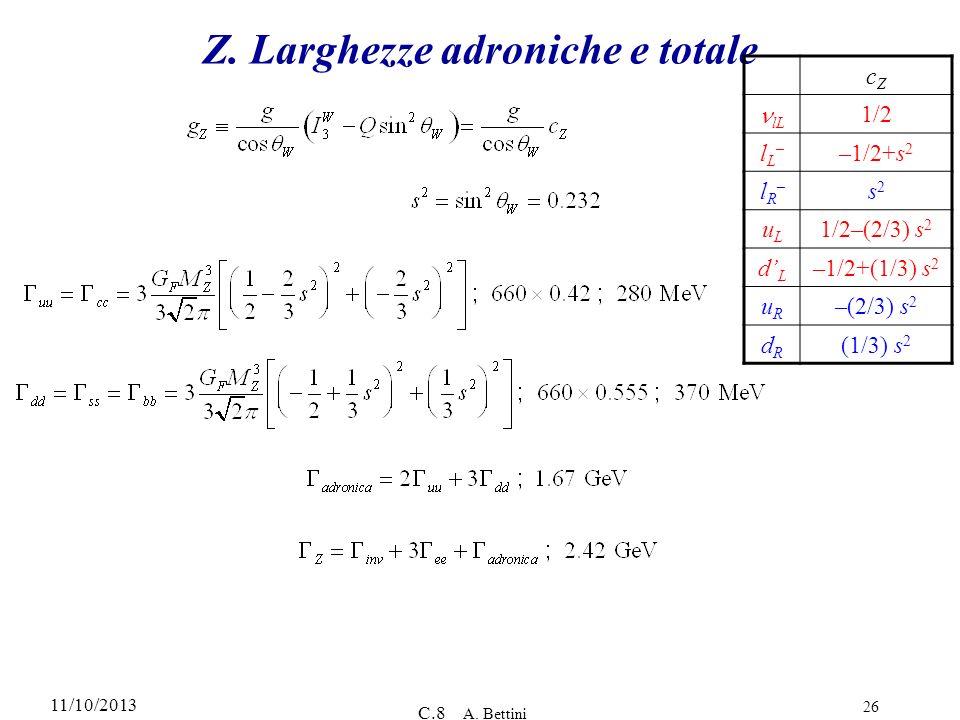 11/10/2013 C.8 A. Bettini 26 Z. Larghezze adroniche e totale cZcZ lL 1/2 lL–lL– –1/2+s 2 lR–lR– s2s2 uLuL 1/2–(2/3) s 2 dLdL –1/2+(1/3) s 2 uRuR –(2/3