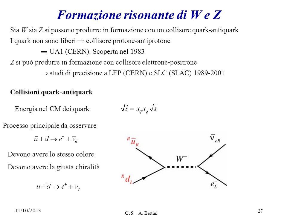 11/10/2013 C.8 A. Bettini 27 Formazione risonante di W e Z Sia W sia Z si possono produrre in formazione con un collisore quark-antiquark I quark non