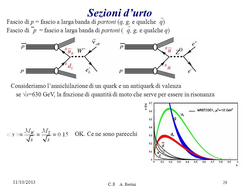 11/10/2013 C.8 A. Bettini 29 Sezioni durto Fascio di p = fascio a larga banda di partoni (q, g, e qualche q) OK. Ce ne sono parecchi Consideriamo lann