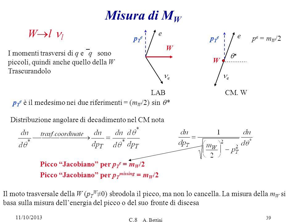 11/10/2013 C.8 A. Bettini 39 Misura di M W W l l pTepTe e e W LAB e e W CM. W pTepTe p e = m W /2 I momenti trasversi di q e q sono piccoli, quindi an