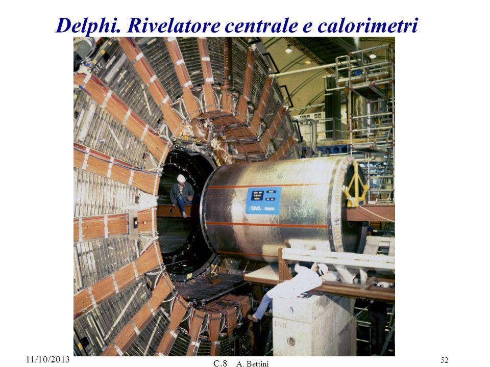 11/10/2013 C.8 A. Bettini 52 Delphi. Rivelatore centrale e calorimetri