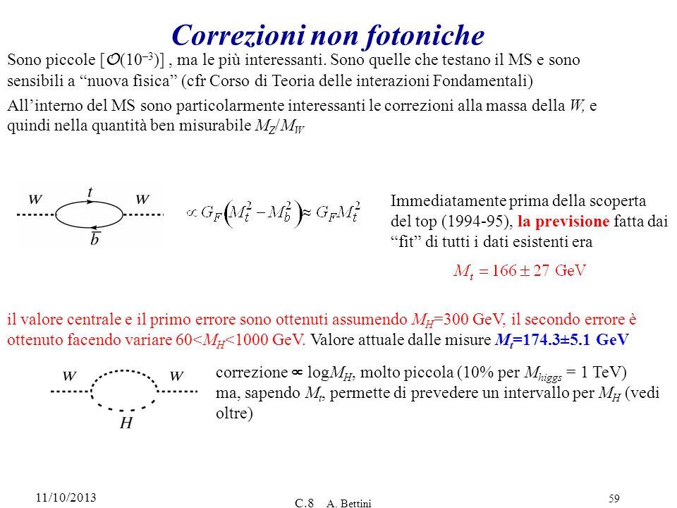 11/10/2013 C.8 A. Bettini 59 Correzioni non fotoniche Sono piccole [ O (10 –3 )], ma le più interessanti. Sono quelle che testano il MS e sono sensibi