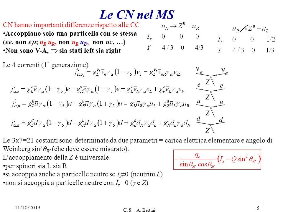 11/10/2013 C.8 A. Bettini 6 Le CN nel MS CN hanno importanti differenze rispetto alle CC Accoppiano solo una particella con se stessa (ee, non e ; u R