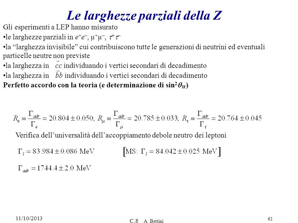 11/10/2013 C.8 A. Bettini 61 Le larghezze parziali della Z Gli esperimenti a LEP hanno misurato le larghezze parziali in e + e –, µ + µ –, – la larghe