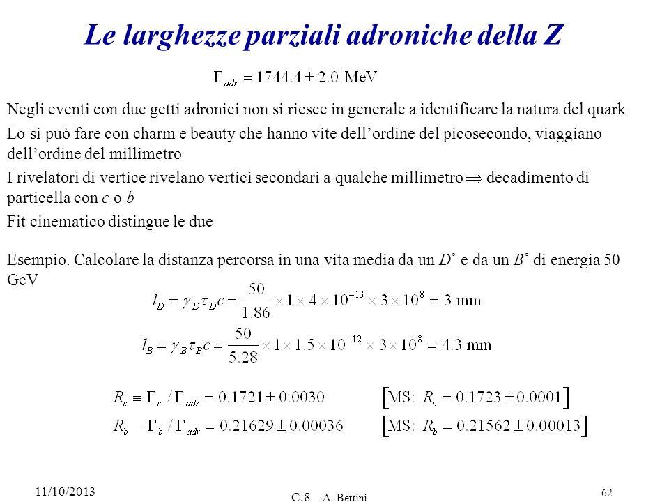 11/10/2013 C.8 A. Bettini 62 Le larghezze parziali adroniche della Z Negli eventi con due getti adronici non si riesce in generale a identificare la n