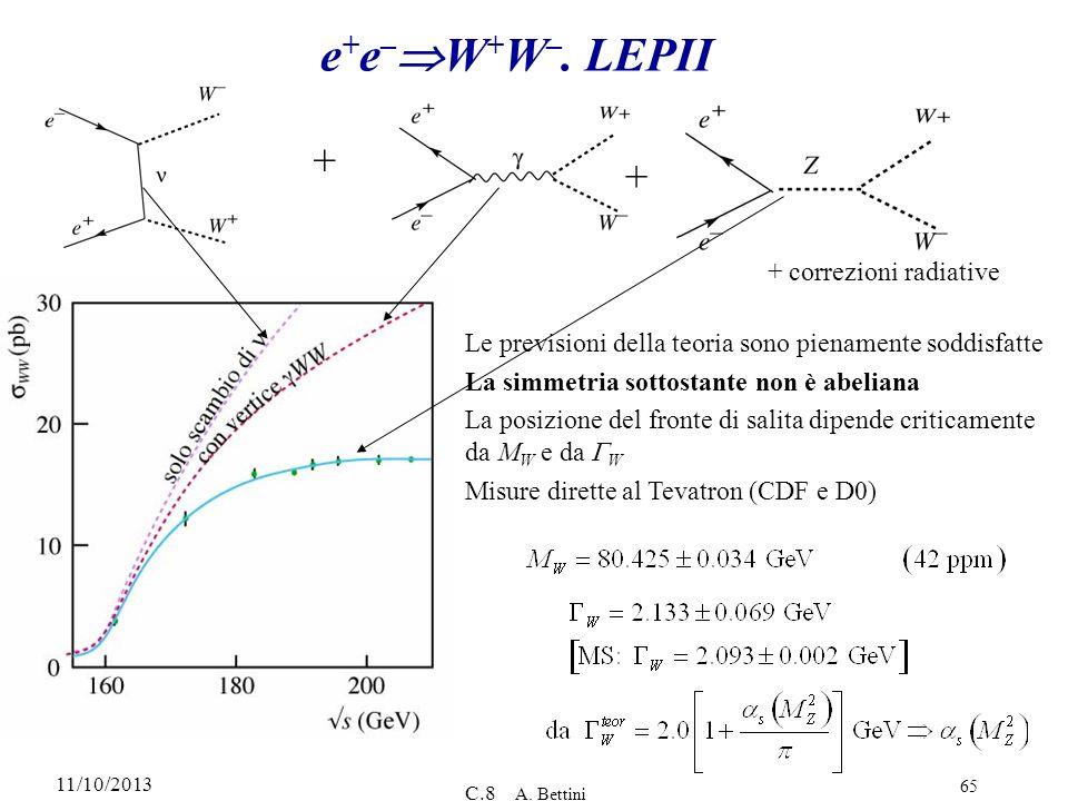 11/10/2013 C.8 A. Bettini 65 e + e – W + W –. LEPII + + + correzioni radiative Le previsioni della teoria sono pienamente soddisfatte La simmetria sot