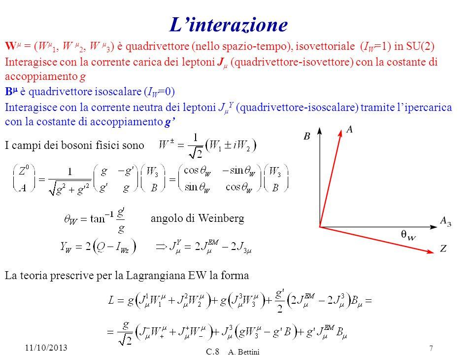 11/10/2013 C.8 A. Bettini 7 Linterazione W µ = (W µ 1, W µ 2, W µ 3 ) è quadrivettore (nello spazio-tempo), isovettoriale (I W =1) in SU(2) Interagisc