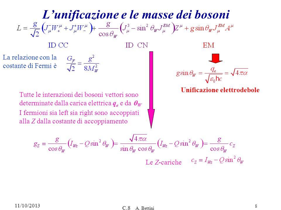 11/10/2013 C.8 A. Bettini 8 Lunificazione e le masse dei bosoni Tutte le interazioni dei bosoni vettori sono determinate dalla carica elettrica q e e